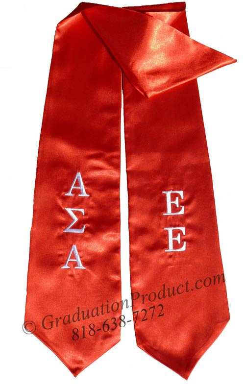 Embroidered Alpha Sigma Alpha Graduation stole