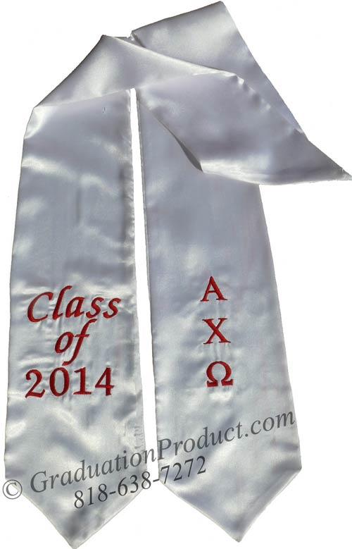 Embroidered  Alpha Chi Omega Graduation Sash