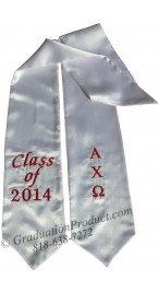 Embroidered  Alpha Chi Omega Graduation Sash