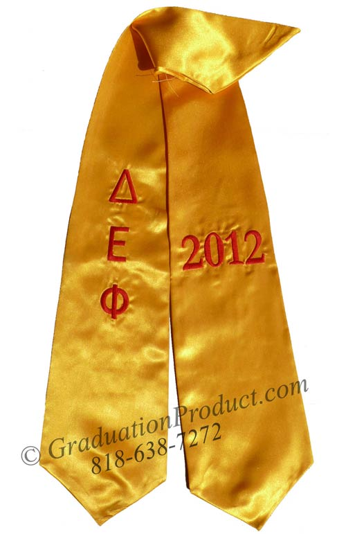 Embroidered Delta Epsilon Phi Graduation Sash