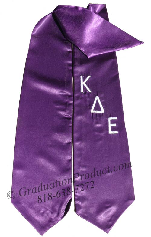 Embroidered Kappa Delta Epsilon Greek Grad Sash