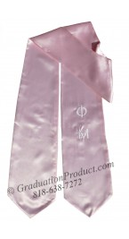 Embroidered Phi Mu pink Grad Stole