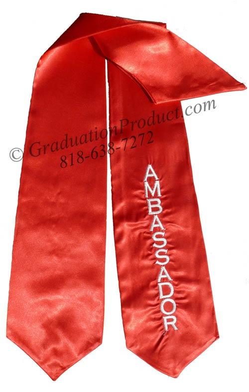 Embroidered  Red Ambassador Sash