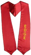 Edge Custom Embroidered Red Satin Stole for graduates