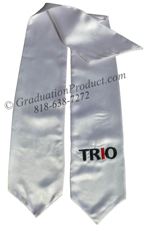 Trio White Graduation Stole