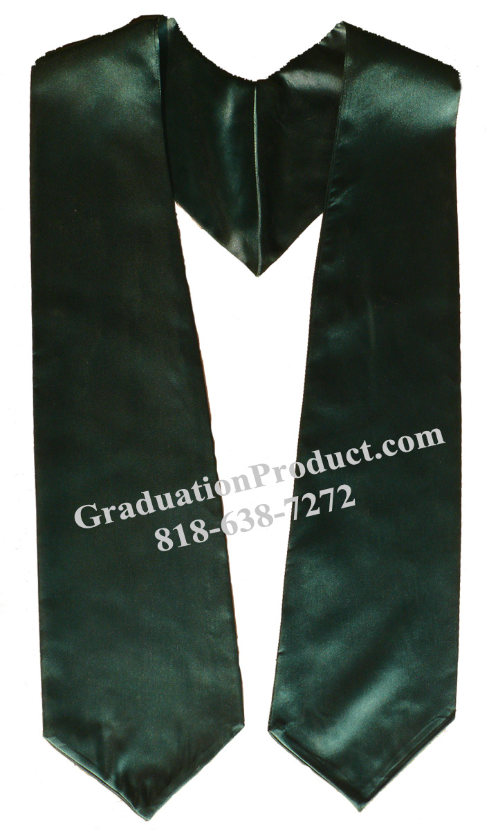 Dark Green Plain Graduation Stole