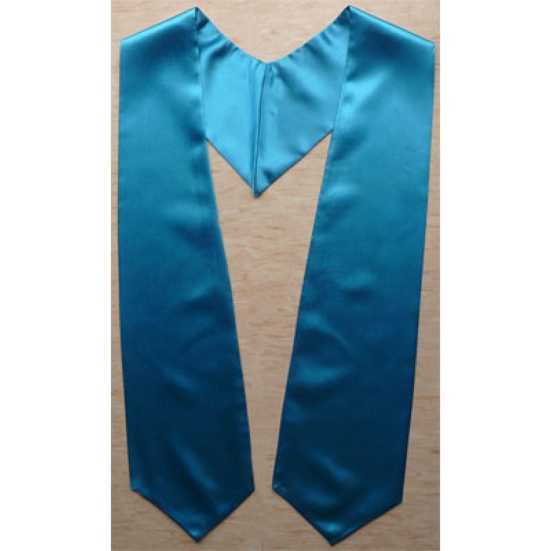 Turquoise Blue Plain Graduation Stole