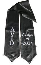 Embroidered Black AVID Class of 2018 Sash