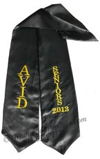 Embroidered  AVID Graduation Senior sash