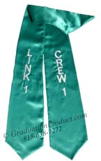 Embroidered teal Link 1 Crew 1 sash