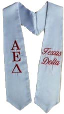 Texas Delta Greek Graduation Stole